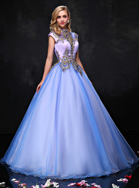 Green Ball Gown High Neck Cap Sleeve Appliques Quinceanera Dresses