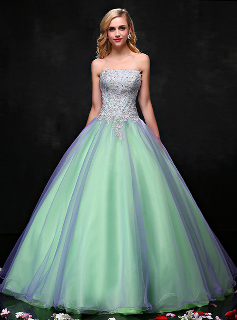 Green Ball Gown Strapless Neck Tulle Appliques Quinceanera Dresses