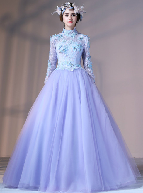 Purple Tulle Long Sleeve High Neck Appliques Quinceanera Dresses