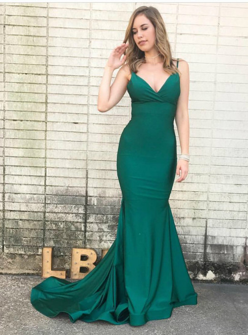 Green Mermaid Spaghetti Straps Satin Backless Long Prom Dress