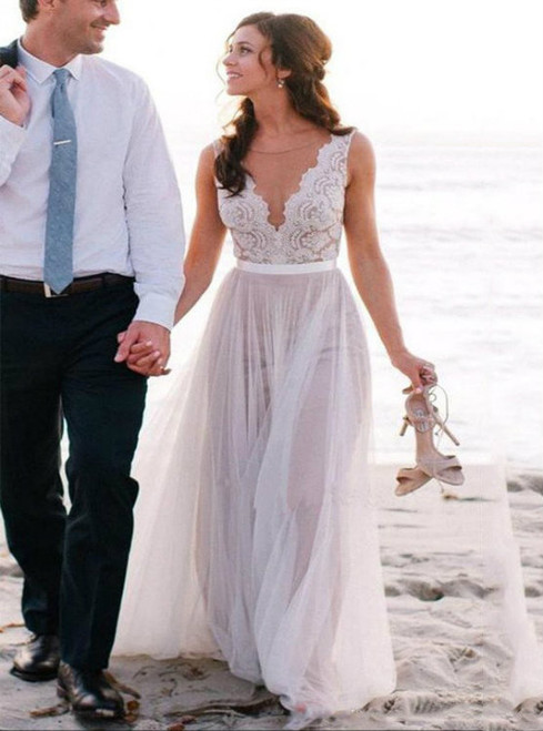 Lace Appliqued V-neck See-through Beach Wedding Dresses