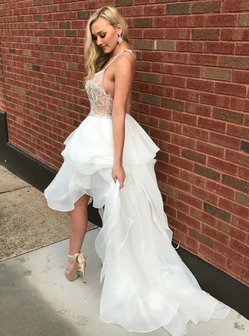Sexy Hi Lo Spaghetti Straps Organza Backless Prom Dress With Beading