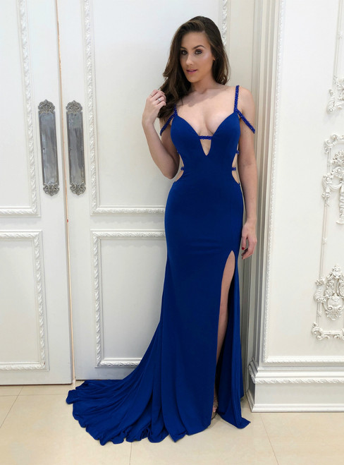 Royal Blue Mermaid Spaghetti Straps Backless Prom Dress With Side Split