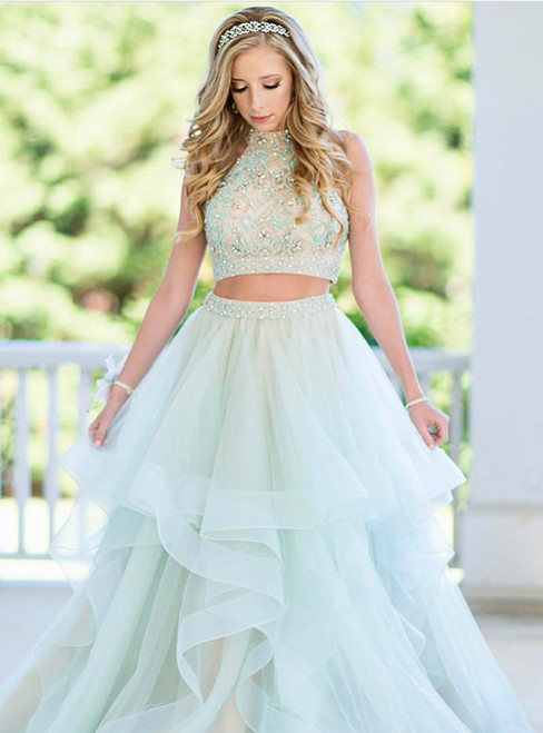 Mint Green Two Piece Tulle Halter Appliques Long Prom Dress