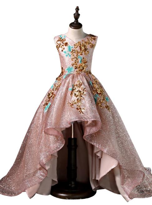 Pink Tulle Sequins Hi Lo Gold Appliques Flower Girl Dress