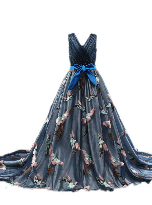 Blue Tulle Embroidery Bird V-neck Flower Girl Dress With Train