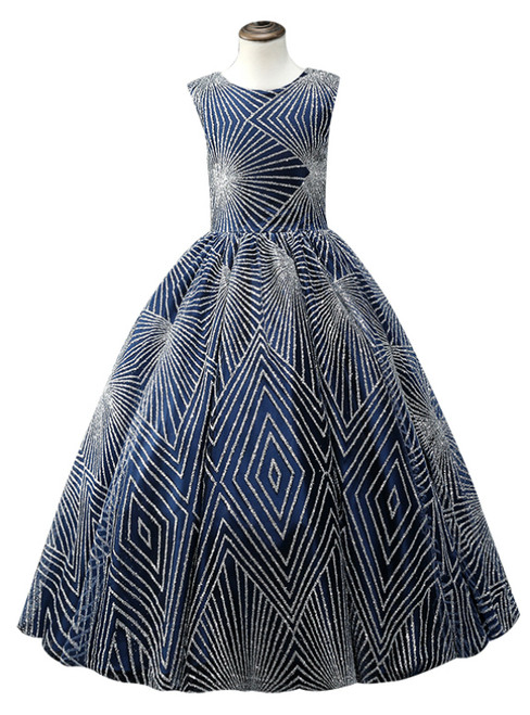 Blue Ball Gown Sequins Floor Length Flower Girl Dress