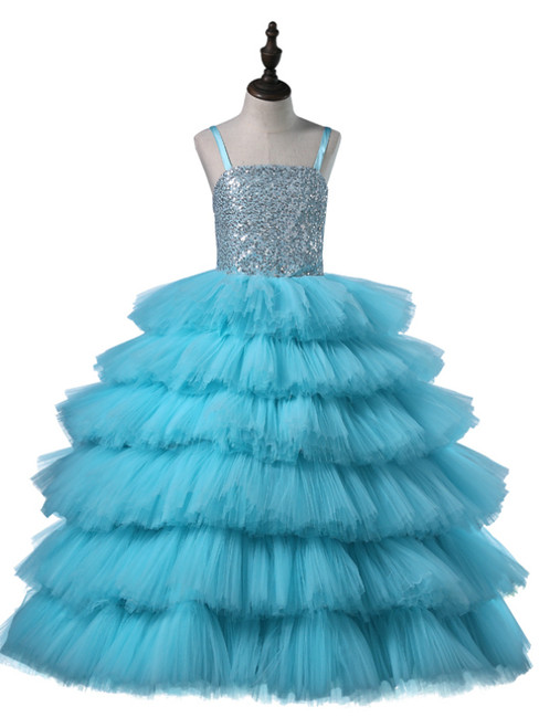Sky Blue Tulle Sequins Spaghetti Straps Flower Girl Dress