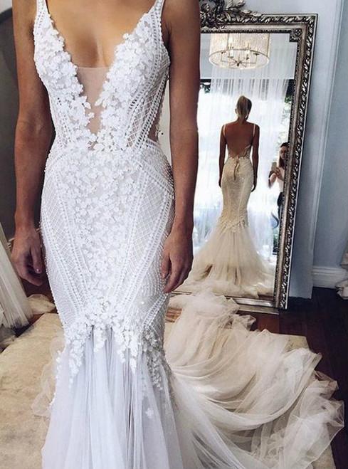 Deep V-neck White Tulle with Beaded Flowers Wedding Dresses