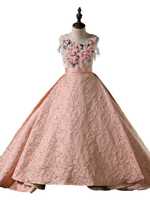 Pink Ball Gown Applqiues With Train Flower Girl Dress