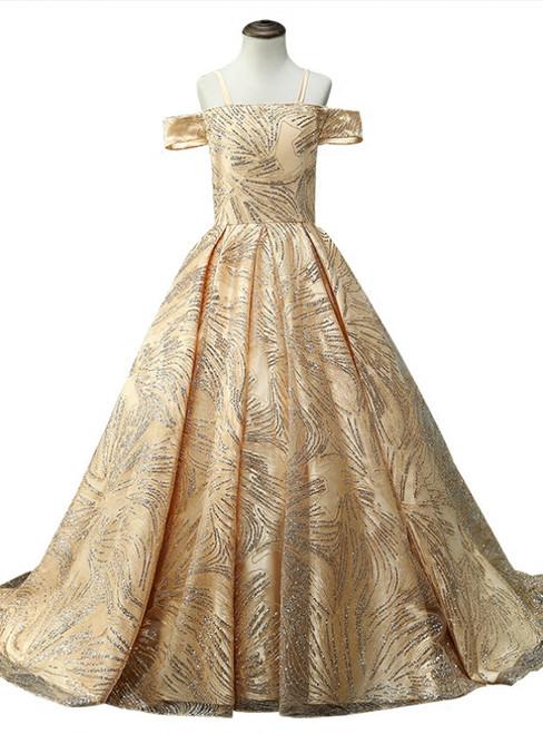 A-line Gold Tulle Sequins Off The Shoulder Flower Girl Dress