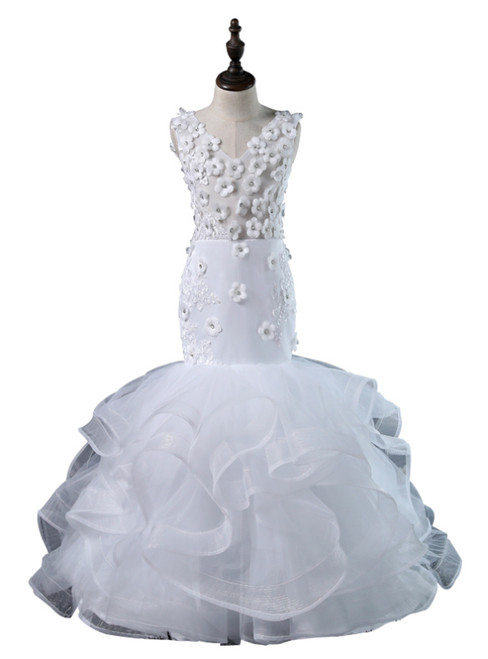 White Mermaid Organza V-neck Appliques Flower Girl Dress
