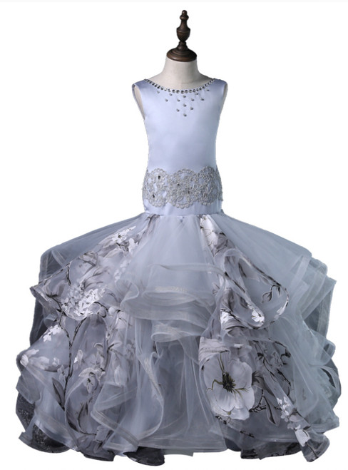Gray Mermaid Tulle Satin Print Backless Flower Girl Dress