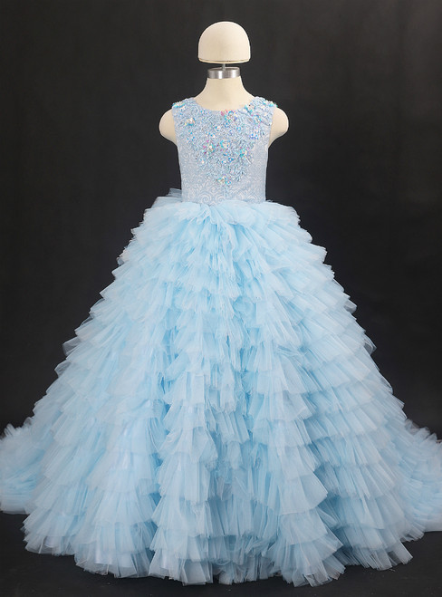 Sky Blue Ball Gown Tulle Appliques Flower Girl Dress