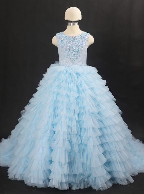 Sky Blue Ball Gown Tulle Appliques Flower Girl Dress