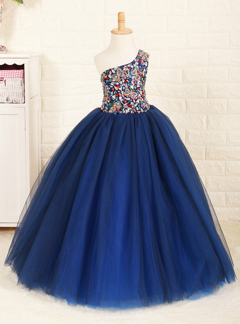 Navy Blue Tulle One Shoulder With Crystal Flower Girl Dress