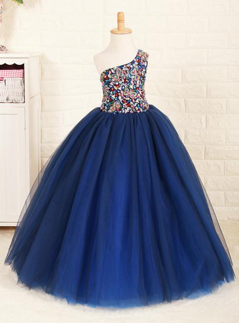 Navy Blue Tulle One Shoulder With Crystal Flower Girl Dress