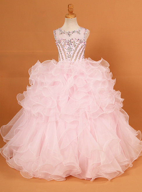 Pink Ball Gown Organza Backless Flower Girl Dress With Crystal