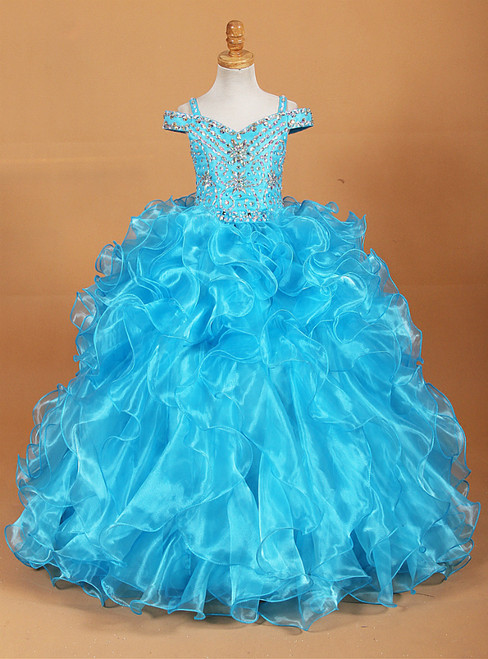 Blue Ball Gown Organza Spaghetti Straps With Crystal Flower Girl Dress