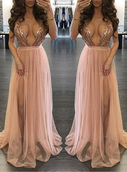 Spaghetti Strap Deep V-neck Sexy Prom Dresses Nude Tulle Slit on Leg Dresses