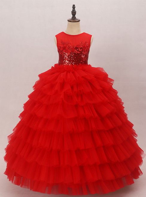 Red Ball Gown Tulle Sequins Appliques Flower Girl Dress