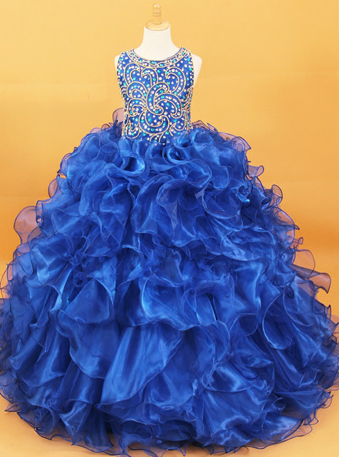 Royal Blue Ball Gown Organza With Crystal Flower Girl Dress