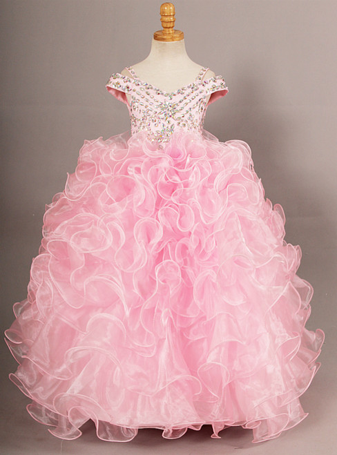 Pink Ball Gown Organza Off The Shoulder With Crystal Flower Girl Dress