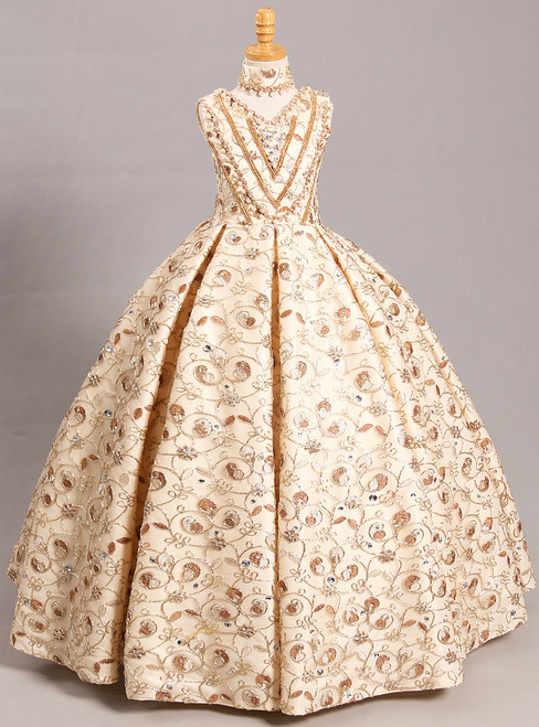 Apricot Ball Gown V-neck Gold Lace Appliques Flower Girl Dress