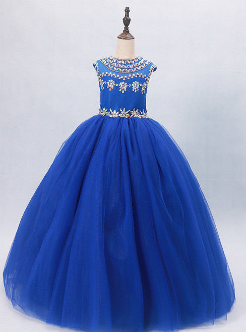 Blue Tulle Backless Cap Sleeve Flower Girl Dress With Crystal