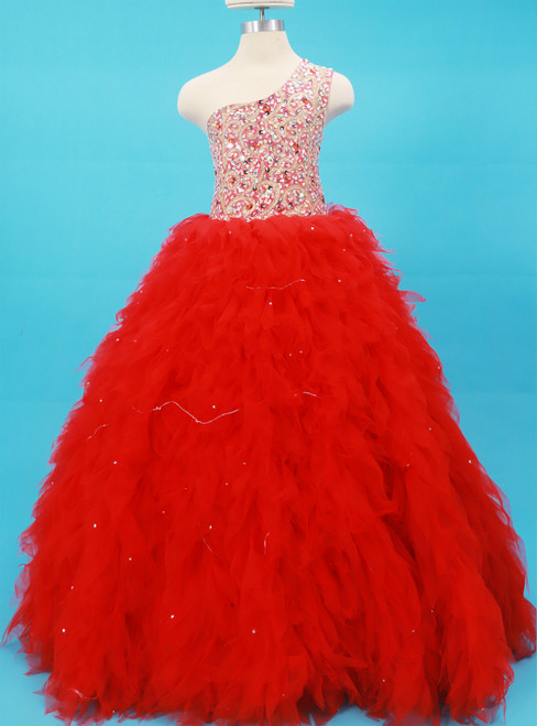 Red One Shoulder Tulle Long Flower Girl Dress With Crystal