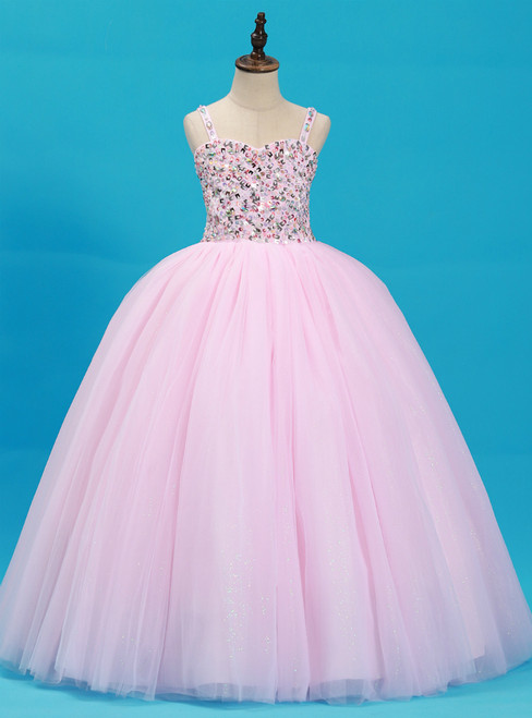 Pink Tulle Spaghetti Straps Floor Length Flower Girl Dress With Crystal