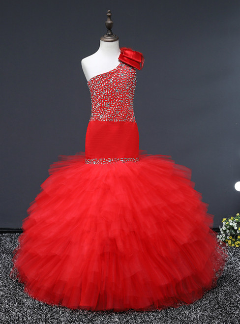 Red Mermaid Tulle One Shoulder With Sequins Flower Girl Dress