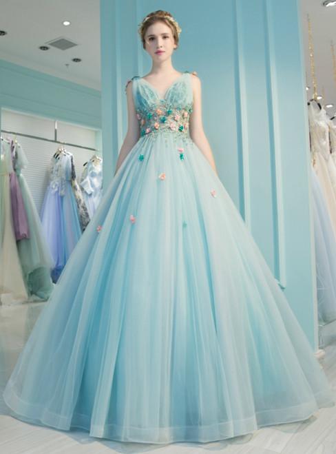 Light Blue Tulle V-neck Backless Appliques Quinceanera Dresses