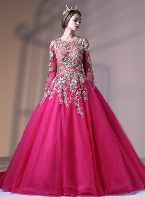 Rose Red Ball Gown Tulle Embroidery Long Sleeve Backless Quinceanera Dresses