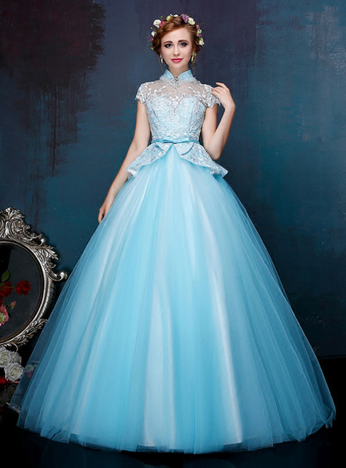 Blue Ball Gown Tulle High Neck Cap Sleeve Backless Quinceanera Dresses