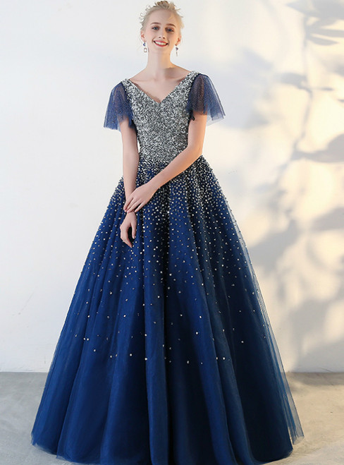 Navy Blue Tulle V-neck Backless With Sequins Quinceanera Dresses