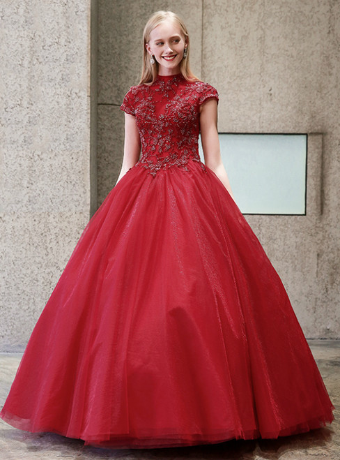 Red Ball Gown High Neck Backless Appliques Quinceanera Dresses