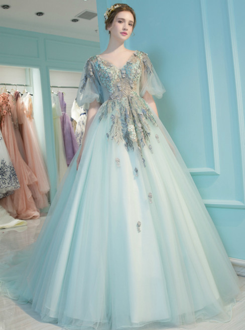Blue Tulle Puff Sleeve V-neck Backless Embroidery Quinceanera Dresses