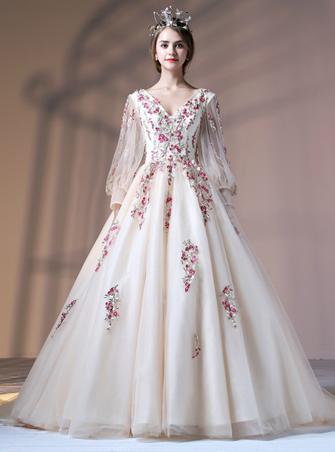 Champagne V-neck Tulle Appliques Long Sleeve Quinceanera Dresses