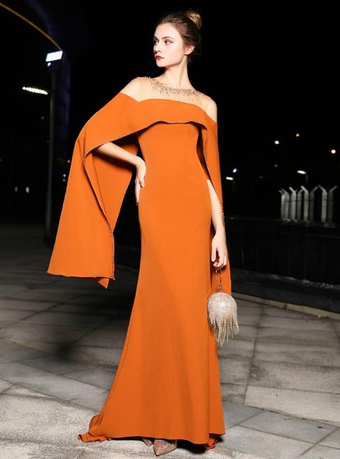 Orange Satin Mermaid Bat Sleeve Prom Dress With Beading