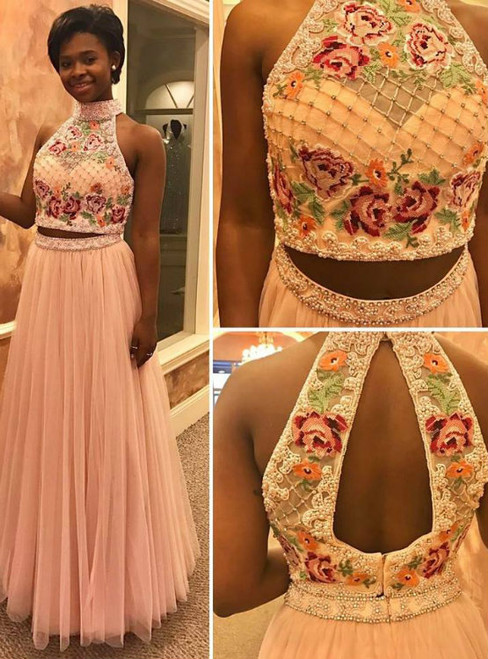 Two Pieces Floral Top Prom Dresses High Neck Beaded Prom Dress