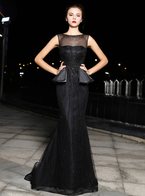 Black Tulle Mermaid Sequins Backless Prom Dress With Beading