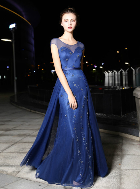 Navy Blue Tulle Mermaid Cap Sleeve With Beading Prom Dress