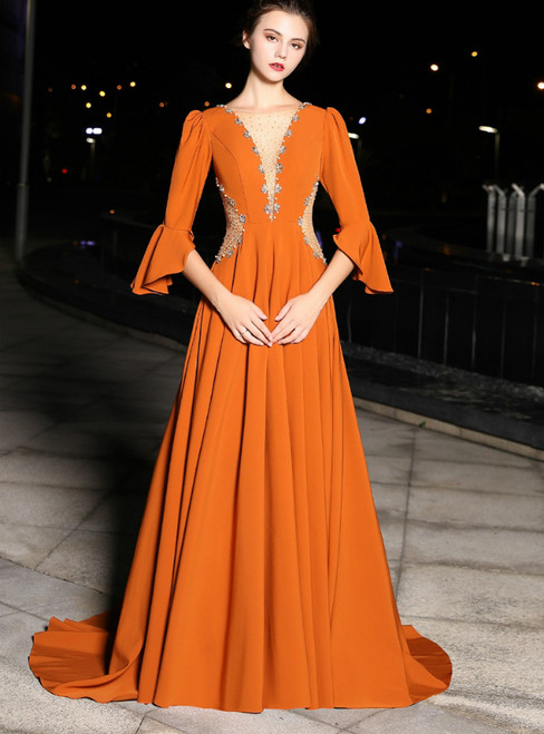 A-line Orange Satin 3/4 Sleeve Deep V-neck With Beading Prom Dress
