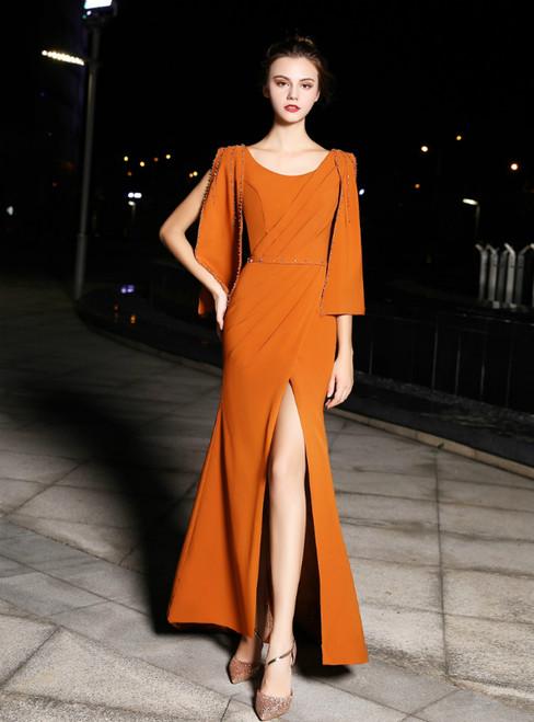 Orange Sheath Satin Flying Sleeve Prom Dress With Side Split