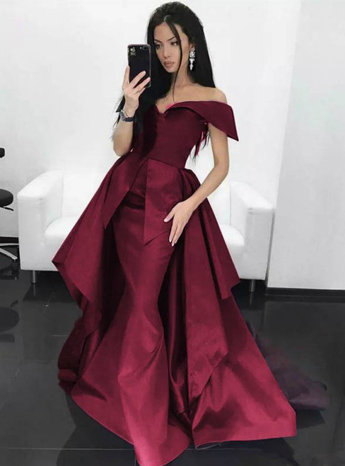 Burgundy Satin Off The Shoulder Prom Dress With Train