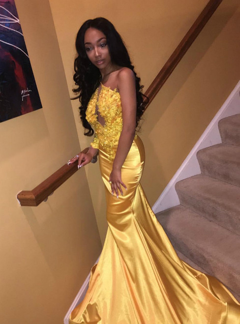 Yellow Mermaid Satin One Shoulder Lace Appliques Prom Dress