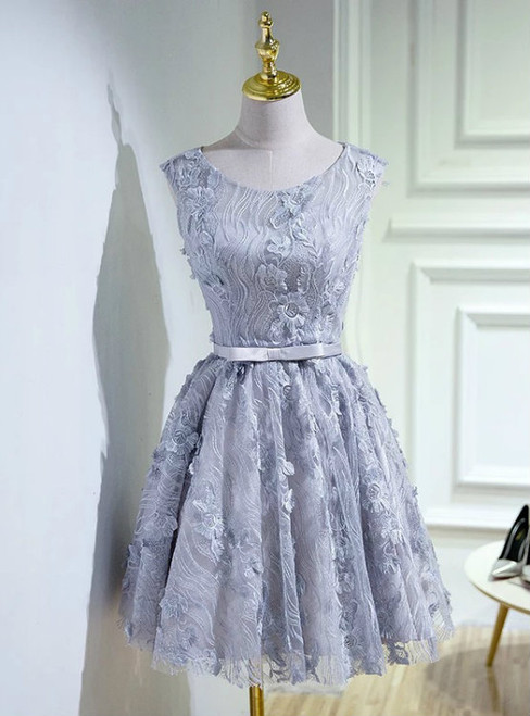 Vintage Lace Homecoming Dress Silver Short Prom Dress