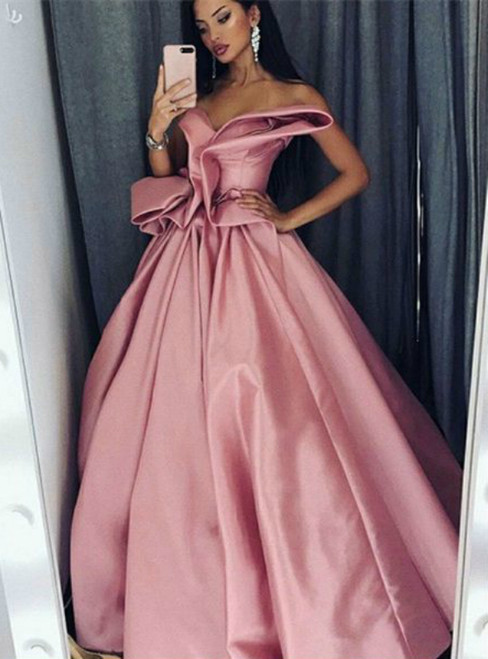 A-Line Sweetheart Pink Satin Prom Dress With Ruffles
