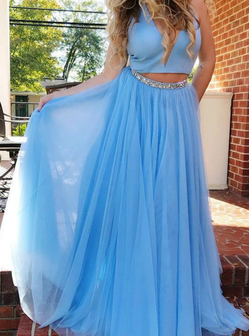 A-line Blue Two Piece Tulle Halter Prom Dress With Beading